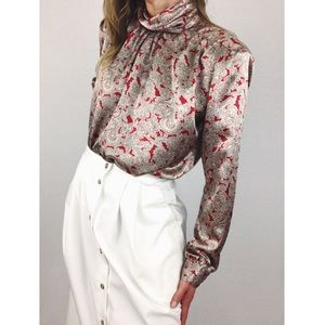 Vintage 💫 Satin Paisley Button-Back Blouse